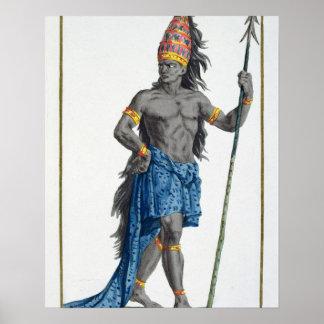 Jean, rey del Congo, grabado por Pedro Duflos Póster