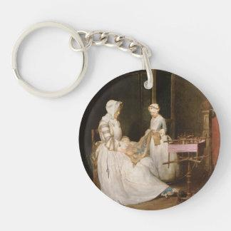 Jean-Simeon Chardin- The Hard working Mother Single-Sided Round Acrylic Keychain