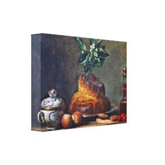 Jean-Siméon Chardin: Todavía vida con el bollo de  Lienzo Envuelto Para Galerias