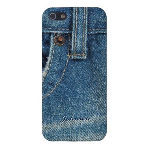 Jean y bolsillo azules frescos con el nombre de en iPhone 5 coberturas