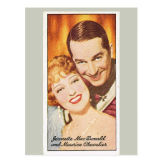 Jeanette Macdonald  and Maurice Chevalier Postcard