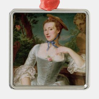 Jeanne Antoinette Poisson  Marquise de Pompadour Square Metal Christmas Ornament