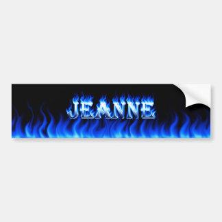 Jeanne blue fire and flames bumper sticker design car bumper sticker