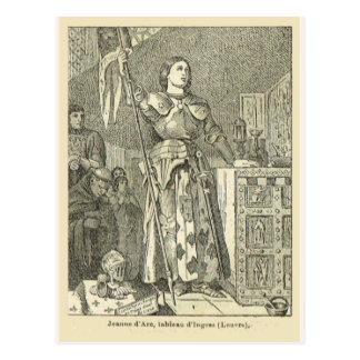 Jeanne d'arc, holding a flag postcard