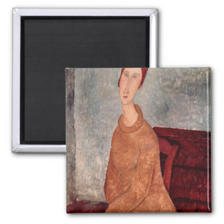 Jeanne Hebuterne in a Yellow Jumper, 1918-19 2 Inch Square Magnet