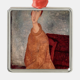 Jeanne Hebuterne in a Yellow Jumper, 1918-19 Metal Ornament