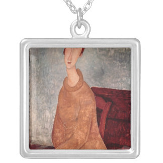 Jeanne Hebuterne in a Yellow Jumper, 1918-19 Square Pendant Necklace