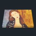 "Jeanne Hebuterne portrait by Amedeo Modigliani Canvas Print<br><div class=""desc"">Jeanne Hebuterne woman portrait by Amedeo Modigliani,  1918,  oil on canvas</div>"