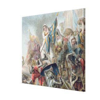 Jeanne Laisne Raises a Standard Against the Men of Stretched Canvas Print