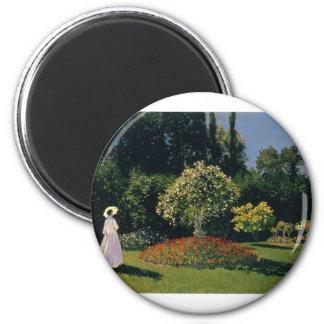 Jeanne-Marguerite Lecadre in the Garden (1866) 2 Inch Round Magnet