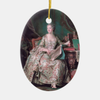 Jeanne Poisson,Marquise Pompadour by Maurice Tour Double-Sided Oval Ceramic Christmas Ornament