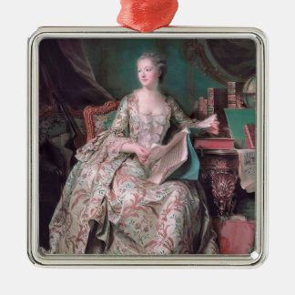 Jeanne Poisson,Marquise Pompadour by Maurice Tour Square Metal Christmas Ornament