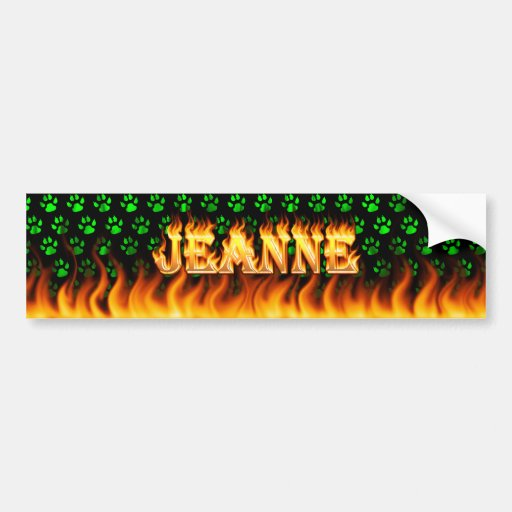 Jeanne real fire and flames bumper sticker design