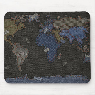 Jeans World Map Mouse Pad
