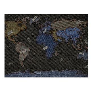 Jeans World Map Postcard