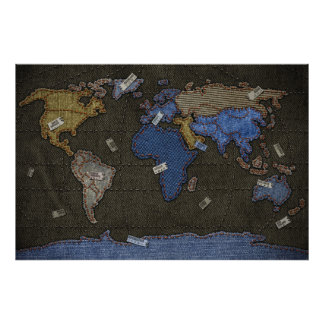 Jeans World Map Poster