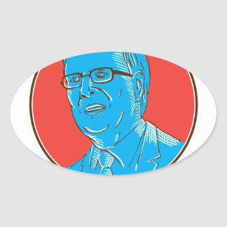 Jeb 2016 President Drawing Oval Sticker