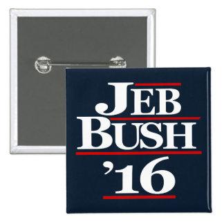 Jeb Bush 2016 botones de la campaña Pin Cuadrado