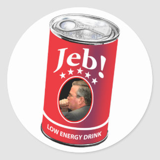 Jeb Bush for President Humor, Low Energy Drink Classic Round Sticker