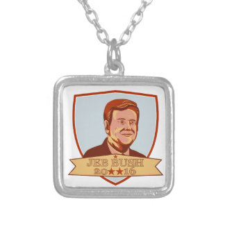 Jeb Bush President 2016 Shield Silver Plated Necklace