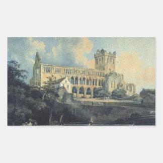 Jedburgh Abbey by Thomas Girtin Rectangular Sticker