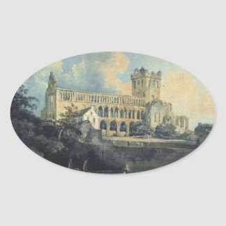 Jedburgh Abbey by Thomas Girtin Oval Stickers