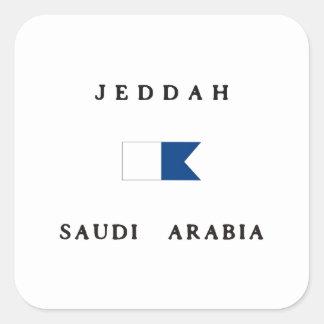 Jeddah Saudi Arabia Alpha Dive Flag Square Sticker