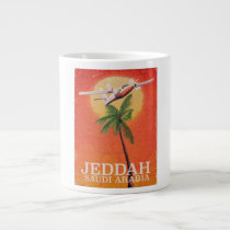 Jeddah Saudi Arabia vintage map travel poster.
