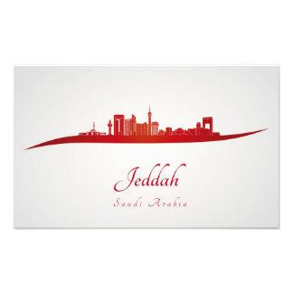Jeddah skyline in red cojinete