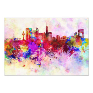 Jeddah skyline in watercolor background photographic print