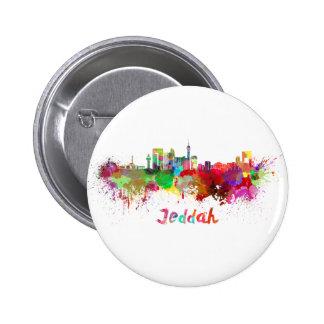 Jeddah skyline in watercolor pinback button