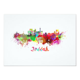 Jeddah skyline in watercolor card