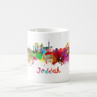 Jeddah skyline in watercolor coffee mug