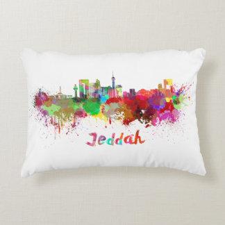 Jeddah skyline in watercolor decorative pillow