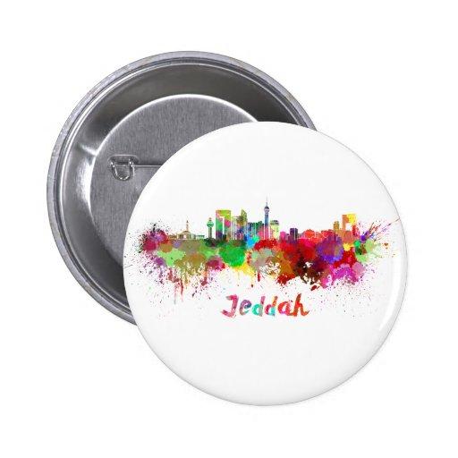 Jeddah skyline in watercolor pins