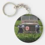 Jeep de los militares del estilo del vintage llaveros personalizados