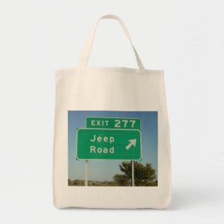 Jeep Road Sign Grocery Tote Bag