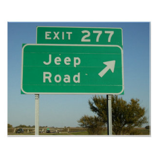 Jeep Road Sign Poster
