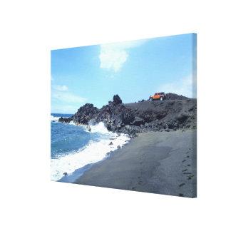 Jeep secluded footprints beach scene canvas art