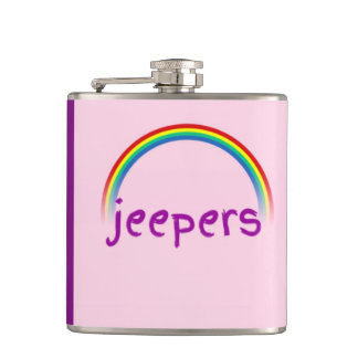 """Jeepers"" Rainbow Pink & Purple Funny Hip Flask"