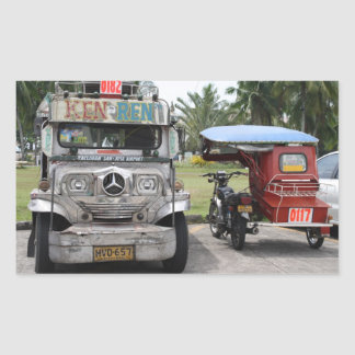 Jeepney and tricycle rectangular sticker