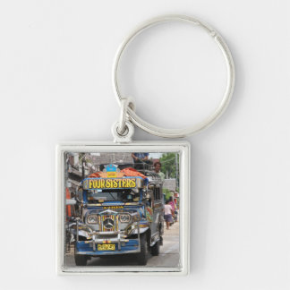 Jeepney Silver-Colored Square Keychain