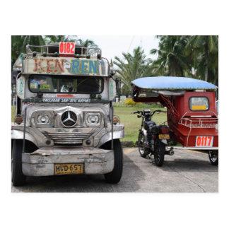 Jeepney y triciclo tarjeta postal