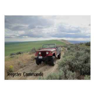 Jeepster on the hill poster