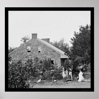 Jefaturas confederadas en Gettysburg, PA 1863 Póster