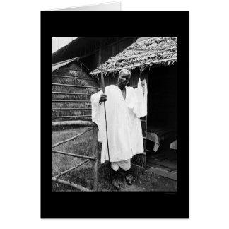 Jefe africano en la exposición Cacerola-Americana  Tarjeton