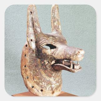 Jefe de Anubis, con un mandíbula con bisagras Pegatina Cuadrada