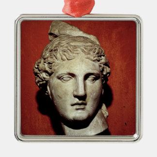 Jefe de Apolo de Ephesus Adorno Navideño Cuadrado De Metal