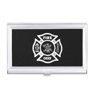 Jefe de bomberos caja de tarjetas de visita