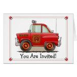 Jefe de bomberos del coche de la invitación del fi felicitaciones